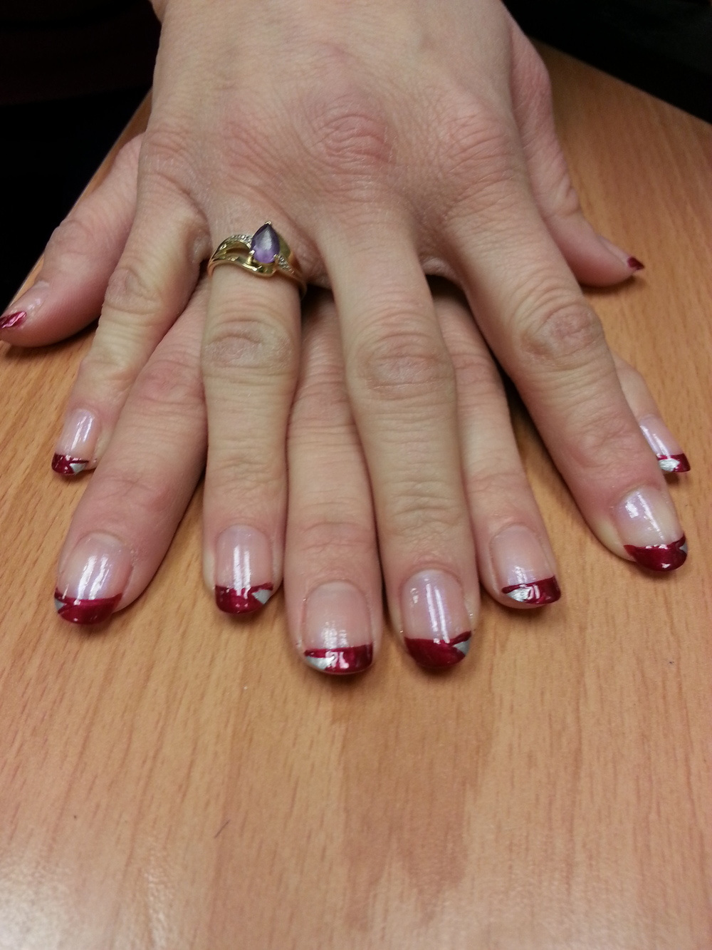 Red & Silver French Tips