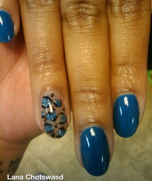 Navy Leopard Accent