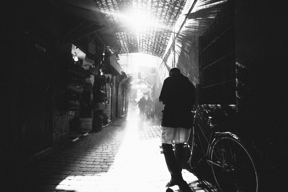 Walking in the Medina, Marrakech, Morocco.
