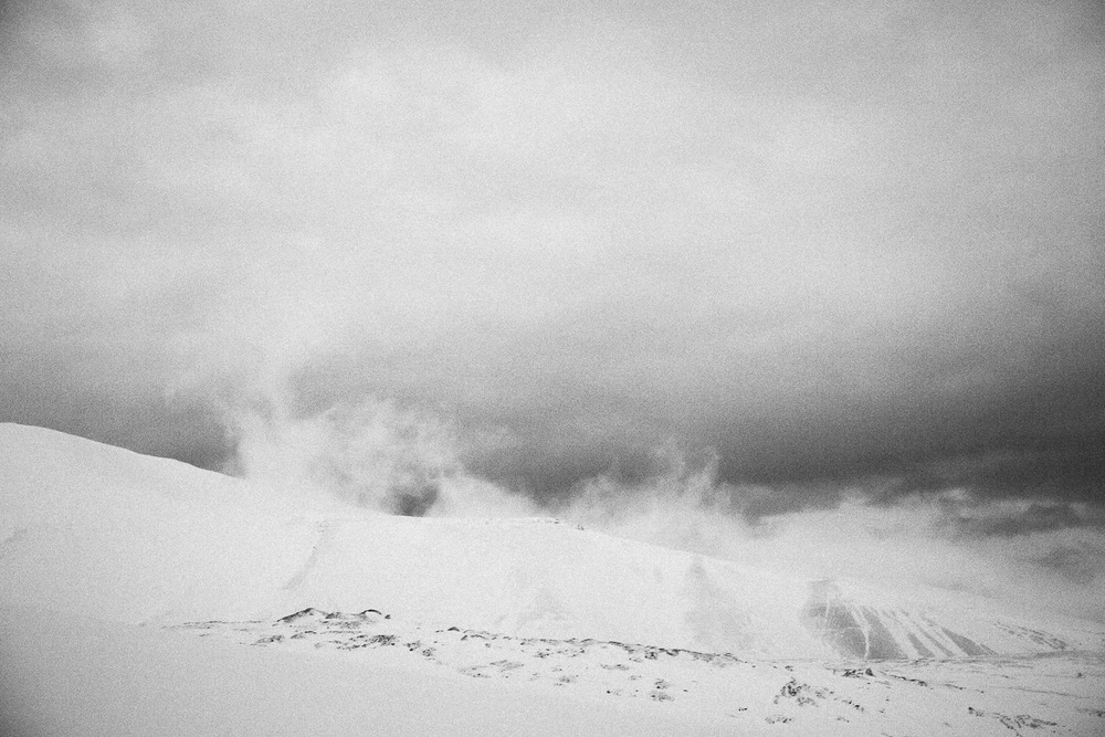 Winter mountains of Svalbard, Longyearbyen, Norway. Minimalistic arctic nature.