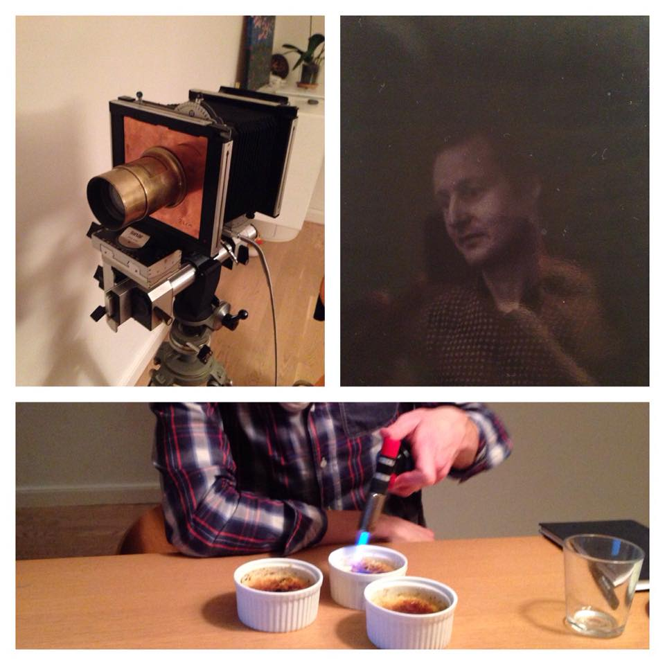 Crème Brûlée, old cameras and good company. Collage by Lars Gundersen