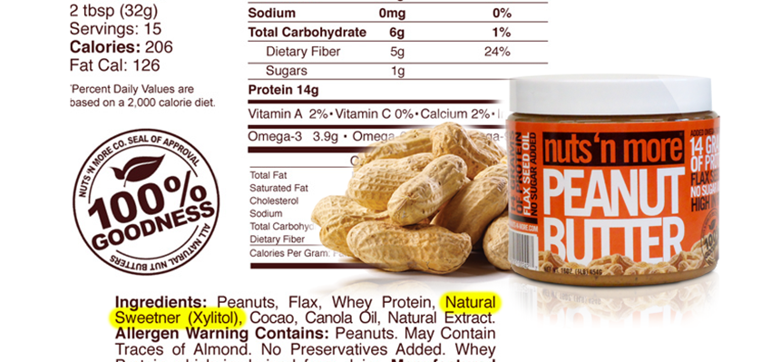 Identifying xylitol in peanut butter and other foods