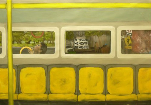 "Bus Window, main canvas 10.5'x6,' window piece behind 24""x24,"" oil on canvas"