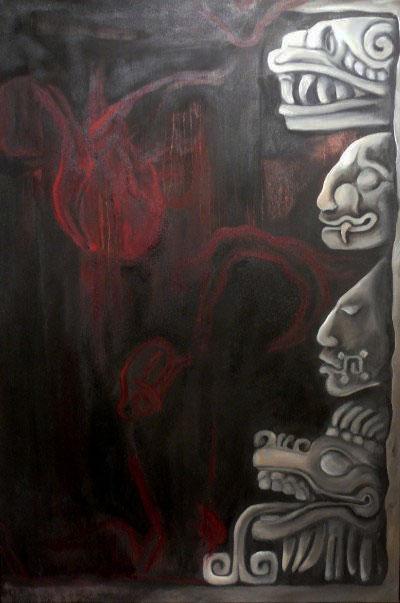 "Ritual, 36""x24,"" oil on canvas"