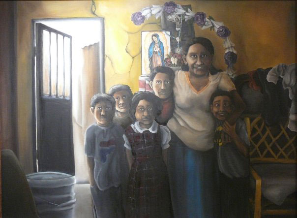 Portrait of Maria Ramirez + Family, 6'x4,' oil on canvas