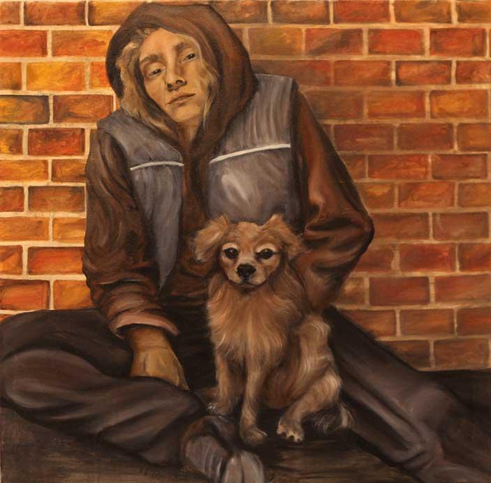 """Homeless, 30""""x30,"""" oil on canvas"""