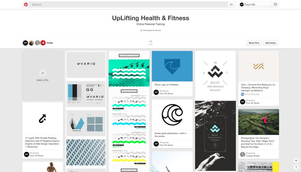 "Here's an example of a board exploration page for a client who is a personal trainer. Waves were an important theme to him so he searched the term ""wave"" and pinned images that inspired him."