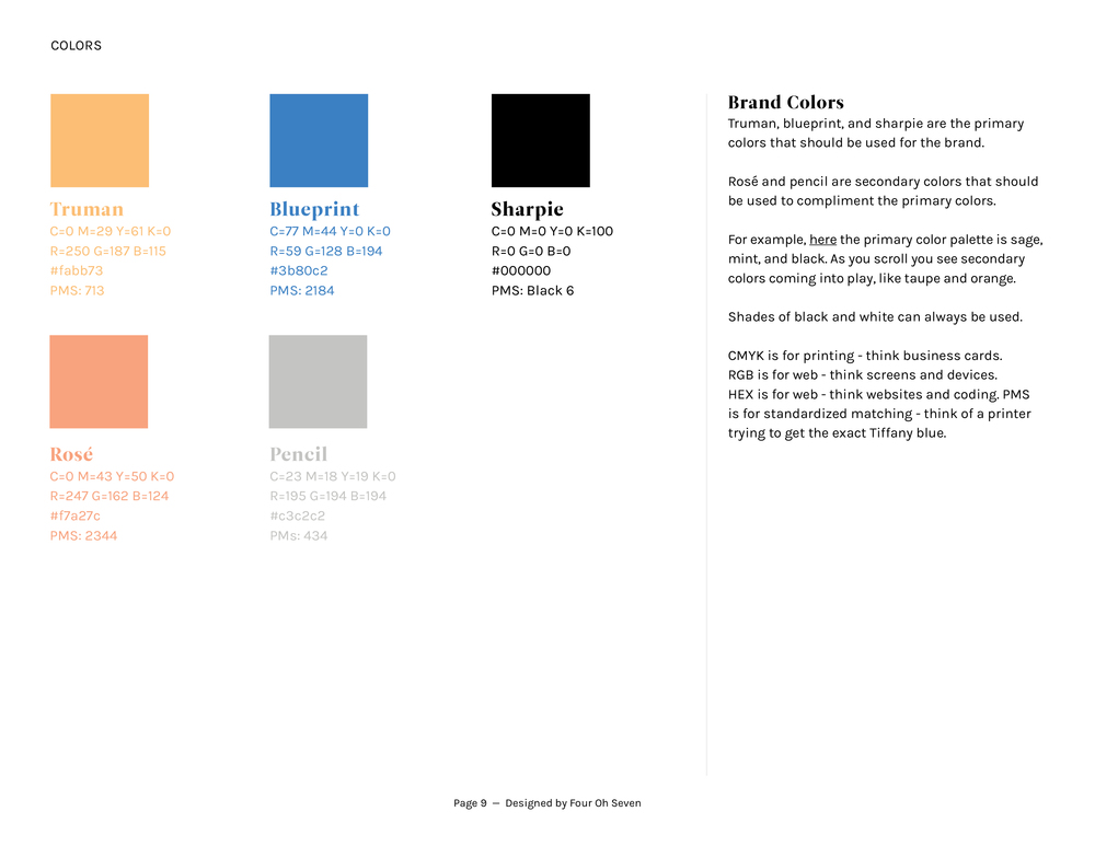 Building your brand blueprint four oh seven a brand style blueprint should always include all of the details for the brand color palette this means including the hex codes for web cmyk values for malvernweather Choice Image