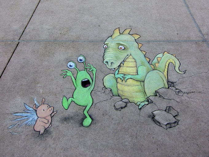 david-zinn-chalk-dragon flying pigs.jpg