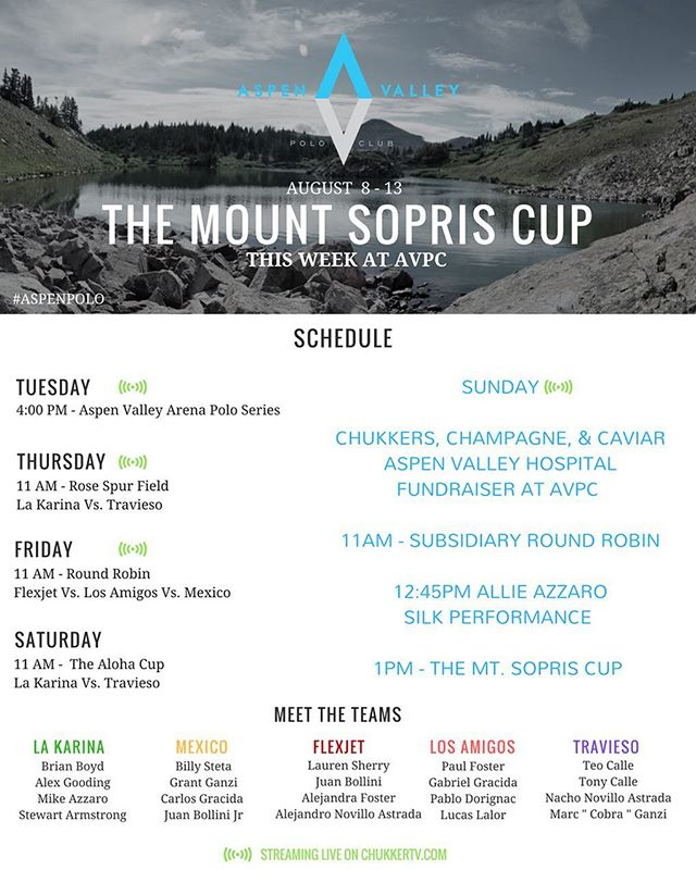 Good morning Aspen , we've got a great week of polo for you. Come visit us at our club and experience polo, meet professional players, or sign up to take a lesson at the polo school. #aspen #aspenpolo #summer