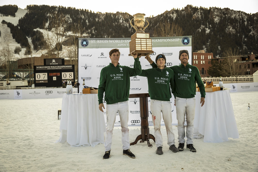 St. Regis World Snow Polo champions Juancito Bollini, Grant Ganzi and Nic Roldan of U.S. Polo Assn.