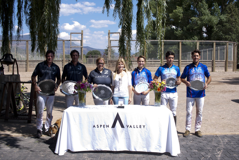 Two-time champion Flexjet and runner-up The Polo School at the awards ceremony.
