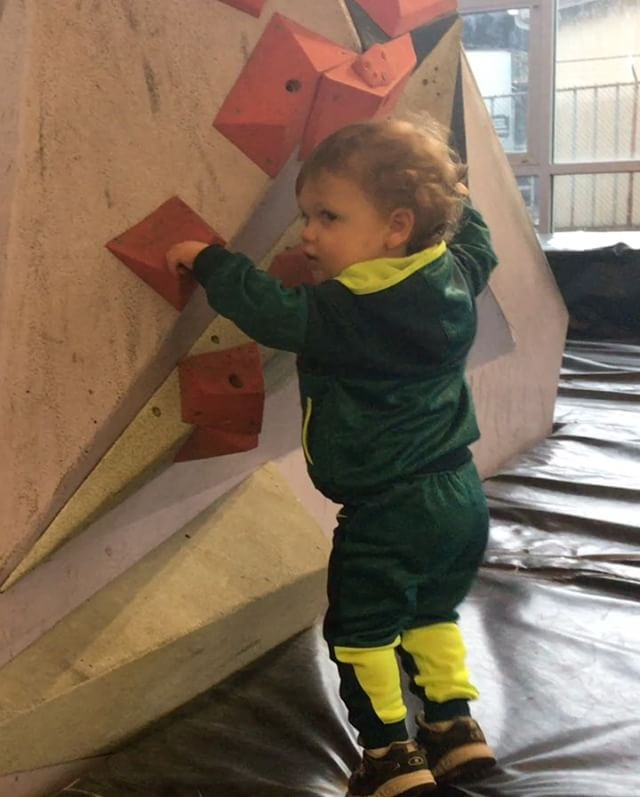 Took Aston to @seattleboulderingproject for a little climbing this morning. He climbed, danced, ran in circles, hung out with @negativev1 and even let me climb a little bit!