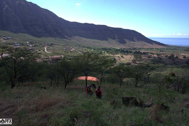 Amy, Kaimana, and Mikaela check out the view of lower Makaha Valley