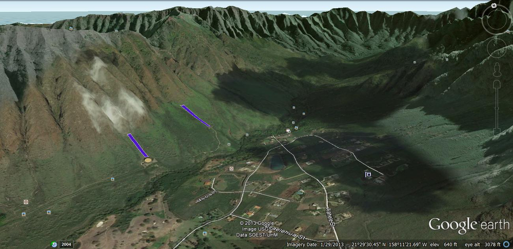 View of Makaha Valley looking mauka (towards the mountains). The fire break locations are shown in blue.