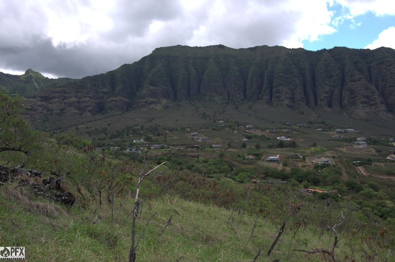 View of the gated community in the upper residential area of Makaha - all built in a high fire risk zone. Note the trees planted along a drainage to the far left - potentially a good place to strengthen for a fire break to protect the upper valley.