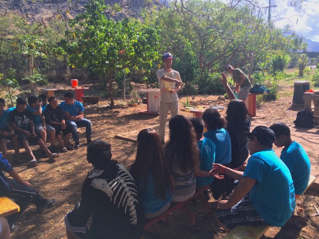 Pablo speaks to students at Kamaile Academy in Waianae, Oahu.