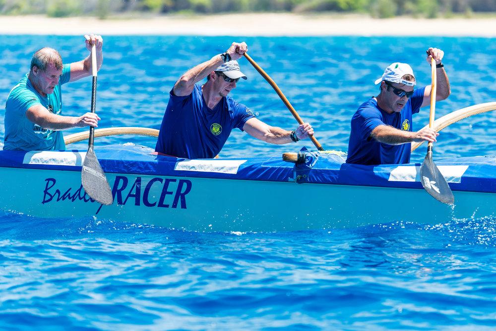 Creighton, center, racing with the Kailua Canoe Club. PHoto courtesy of Creighton litton.