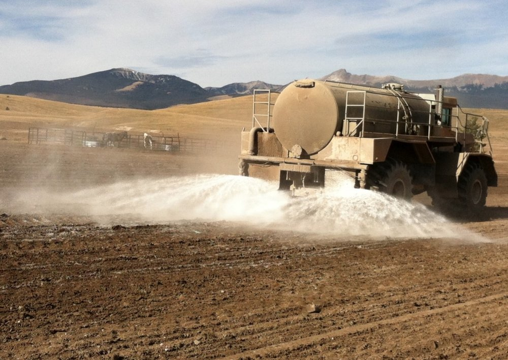 "Example of ""Rhino Snot"" applied for dust control. Photo: Envirotac."