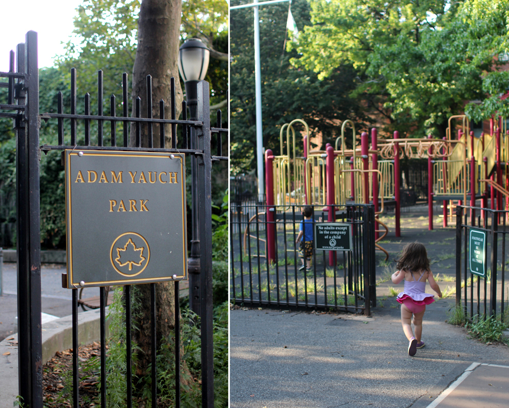 We took a shortcut back to the car through the Adam Yauch playground (pretty appropriate as it happened to be the 25th anniversary of Paul's Boutique). Funny how they had just as much fun playing there as they do at super fancy jungle gyms and playgrounds.