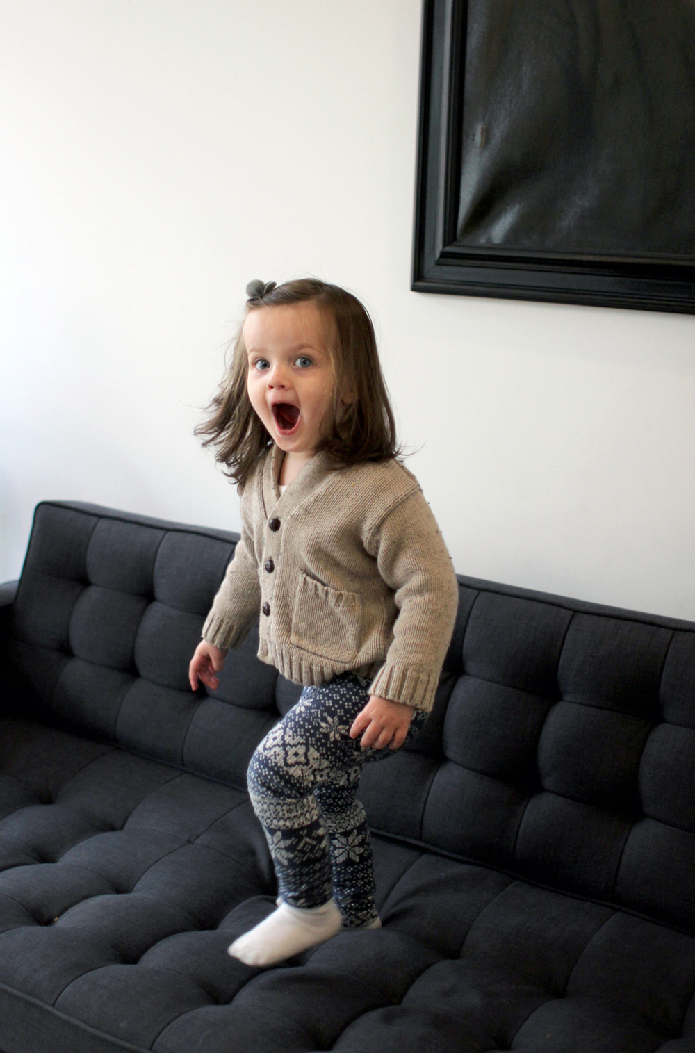 It's sad when it's late April and you're still cooped up inside because the freezing winter temperatures haven't lifted. But we find ways to entertain ourselves inside. Jumping on the sofa, flying airplanes, and sometimes even climbing into the stroller and pretending we're going out for an adventure.