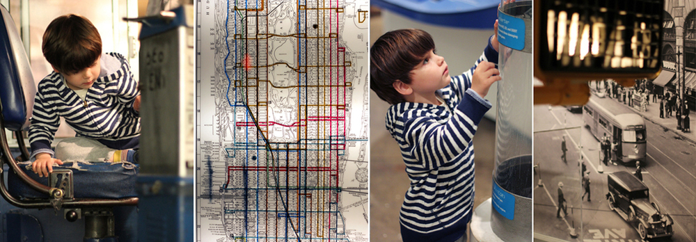 The Transit Museum is a great escape on a rainy day. Everett runs straight to the buses, and gets behind the wheel.