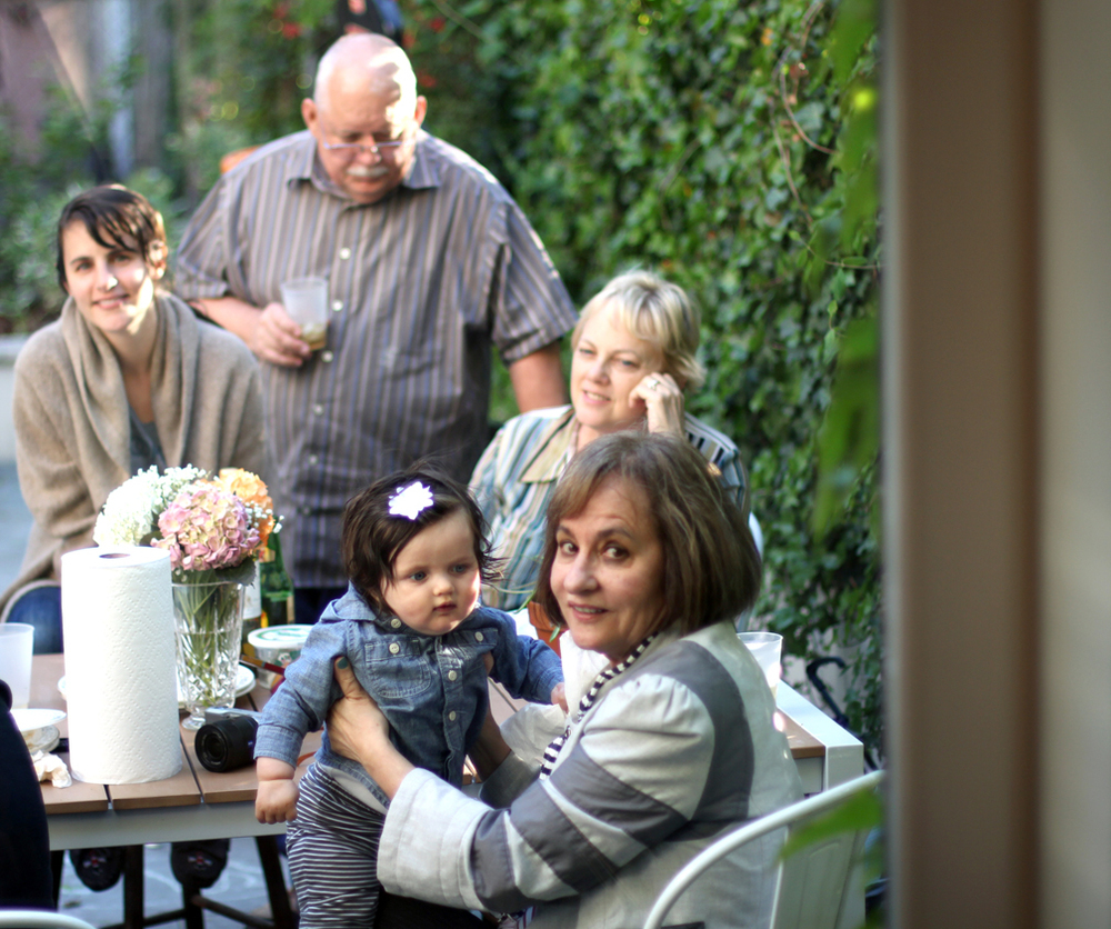 A rare treat: dining al fresco with four grandparents.