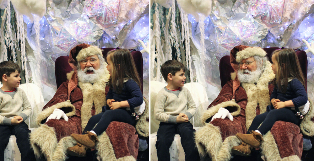 "We had a great conversation with Santa about what we want for Christmas. Everett still wants ""a dragon. A red one!"" and Alice wants a unicorn. They were both tickled pink to have the chance to sit with Santa, and both had that nervous/excited/shy smirk on their faces, but not so shy that they weren't happy to chat for a while."