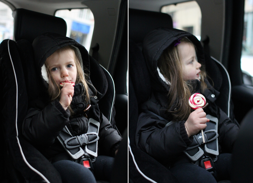 Eating the lollipops in the car was our attempt to contain the mess, but I forgot to account for Alice's hair, which became a sticky, dreadlocked mess. By the time we got to the river and Everett was calling out the names of the three bridges, Alice had more hair in her mouth than candy. And she spent the rest of the day smelling like sweet, sugary, peppermint.