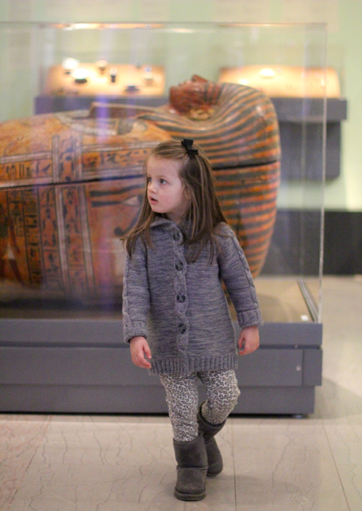 "On a day that's 5  ° with the windchill, we knew we had to go somewhere indoors!   There's lots of great exhibits to see at the museum, but we spent the most time with the Egyptian art  . Between the giant sarcophaguses and ancient mummies, ""kangaroo-cat"" (according to Alice) vessels, and huge hie  roglyphics, it was so exciting, and   we went running (full-speed!) from one object to another  ."