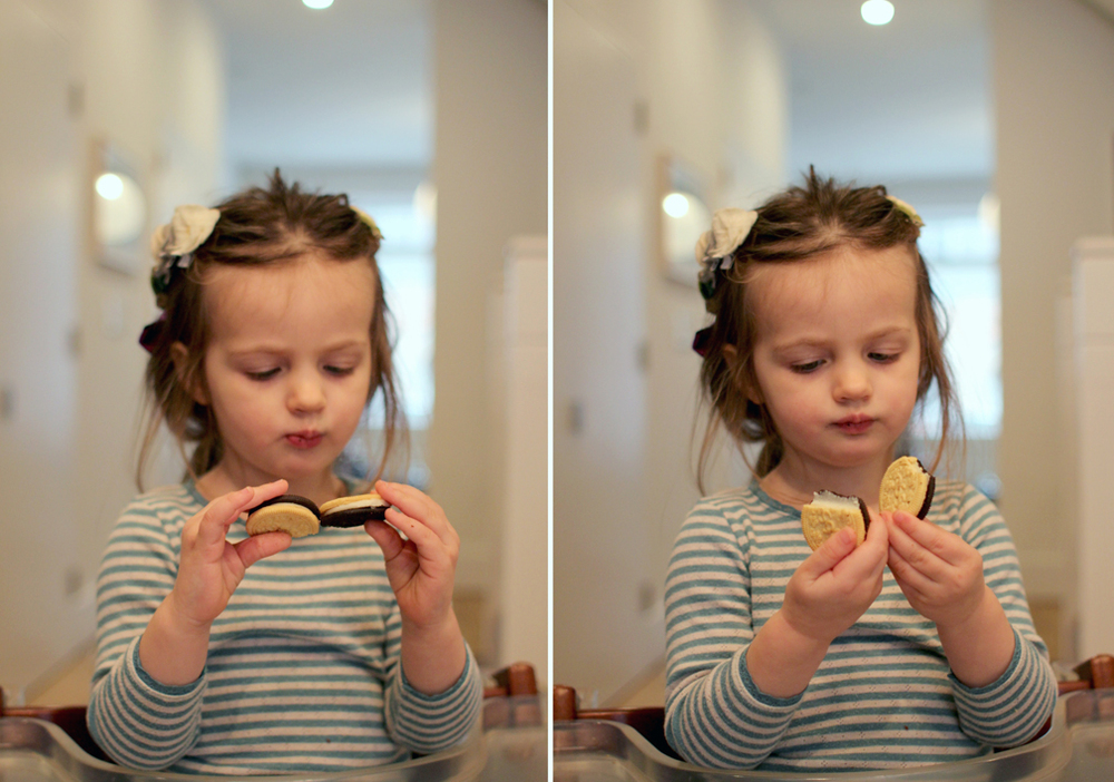 Alice seems to not like chocolate – she always gets a bitter face and recoils. So in this case, preferring boxed cookies to homemade muffins is forgiven.