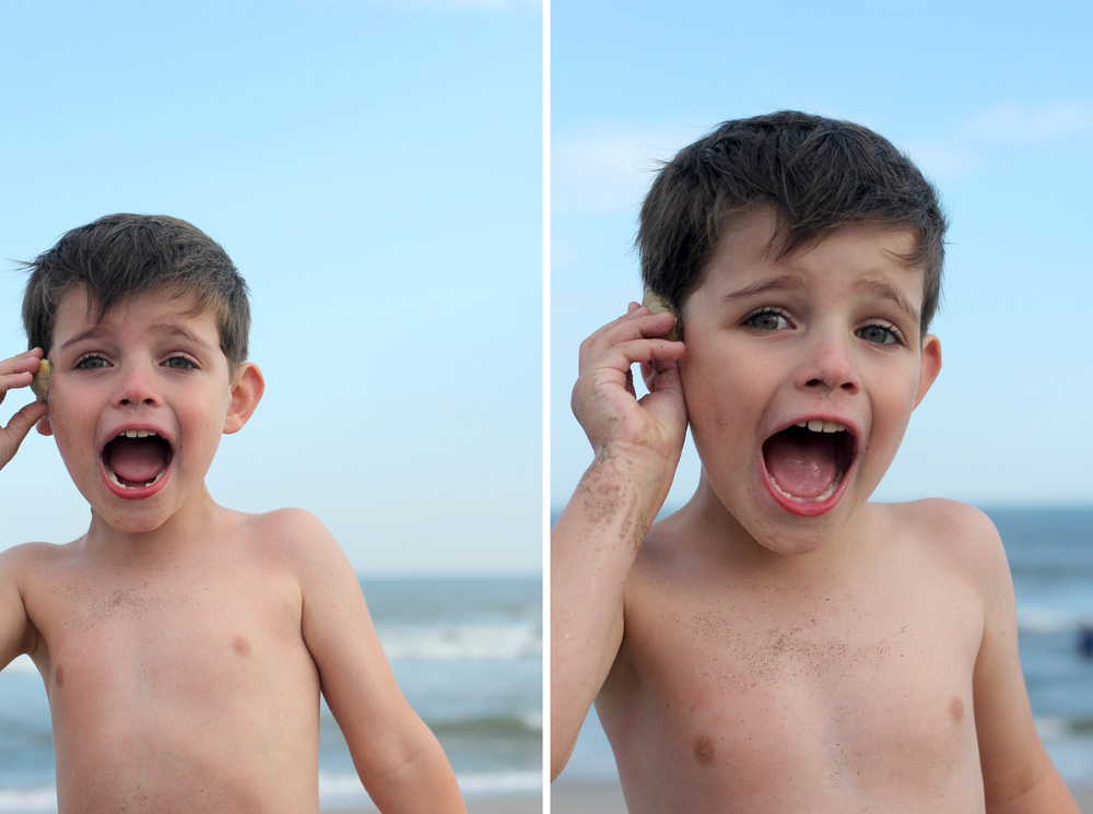 Everett found shells to hear the ocean, but he must have gotten confused somewhere along the way, because every time he put it up to his ear, he proceeded to yell as loud as he can.