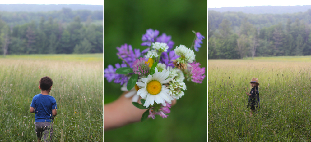 We went to an old barn and the kids spent over an hour wading through grass taller than them, picking clover and daisies. And can you believe Everett's bouquet? He put it together all on his own and it was actually, legitimately impressively arranged!