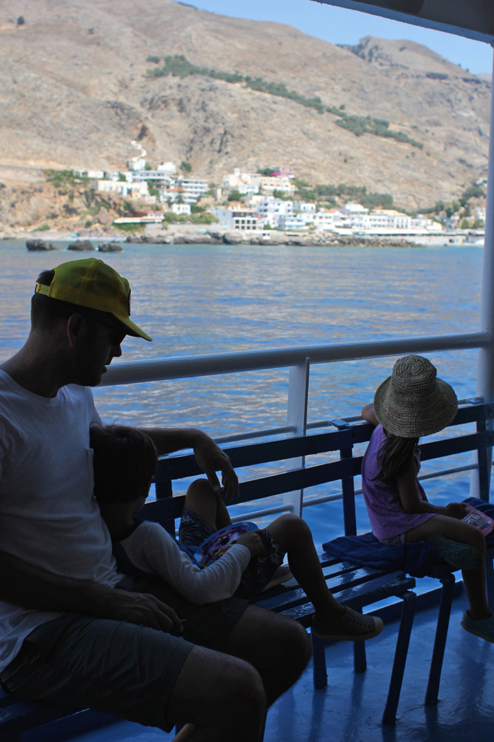 We hopped on the ferry for the short ride to Loutro. With no cars in the village, the only way to get there is by boat, or hiking for hours (and hours) along the precarious rim of the mountain.