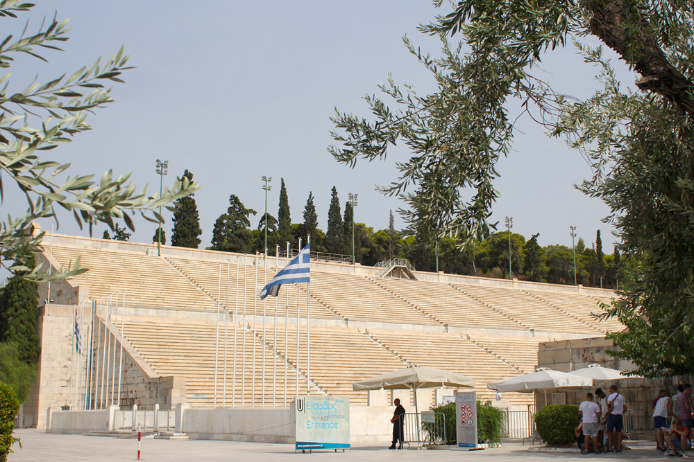 I hadn't been to the  Panathenaic  Stadium in years. Even though it was so hot we thought we'd faint, it was well worth the time and effort to walk through. And it's just amazing to imagine people standing/sitting/competing on that soil throughout time, all the way back to a few hundred years BC.