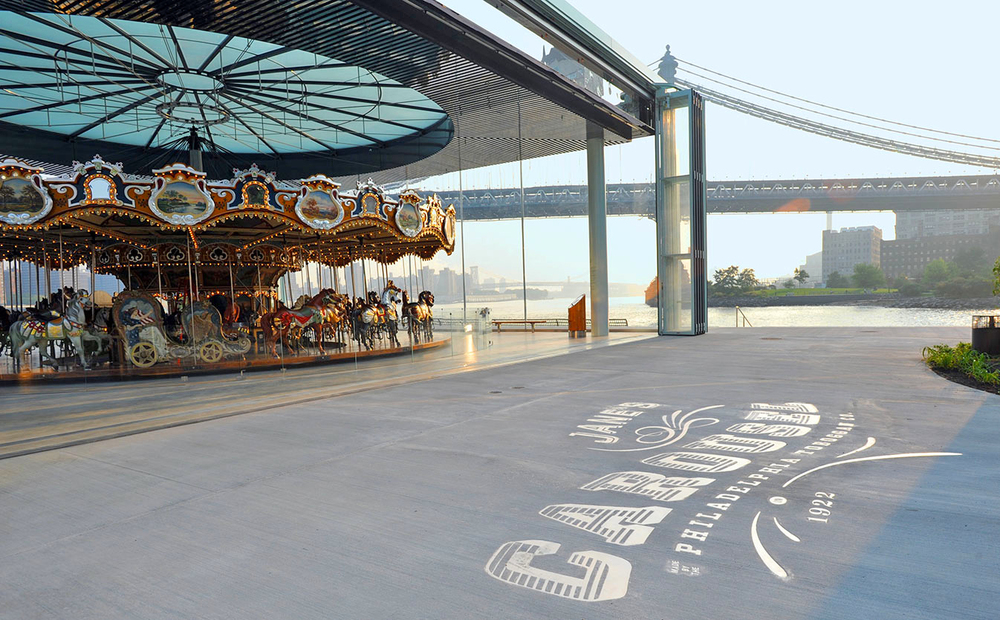 Jane's Carousel is nestled between the Brooklyn Bridge and the Manhattan Bridge, right on the Hudson River, overlooking the Manhattan skyline. Not too shabby for a birthday party!