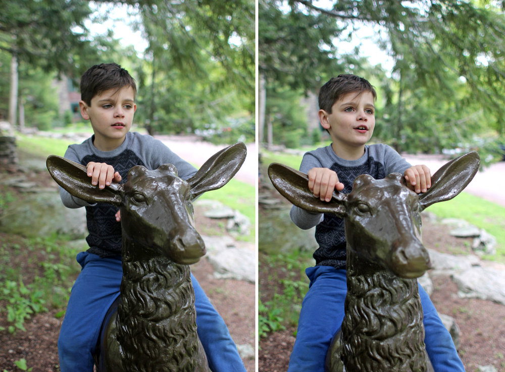 I can't believe this trip when Everett rode Stella (minus 1 ear!) was TWO years ago! The last two years have flown by, the kids have gotten so big. But not too big to ride deer statues. ;p