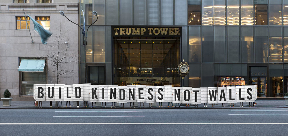 Timothy Goodman is someone I've recently begun following on  Instagram  and this image is from his latest project, entitled 12 Kinds of Kindness. He and some volunteers created this kindness wall around Trump Tower in NYC today, and  his article  on his reasoning both behind this act and how much more we need to emphasize kindness in America is eloquent and wonderful.