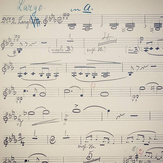Nothing like handwritten music. This is Dvorák's own hand, the clarinet 2 part. Can you guess the piece?