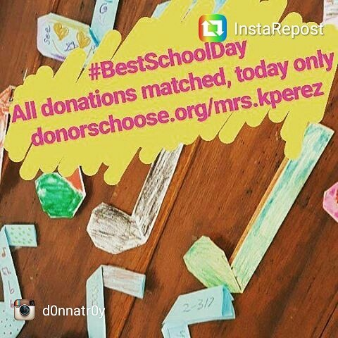 There's a huge match going on over at @donorschoose for the #bestschoolday ! Will you help out @d0nnatr0y 's band? donorschoose.org/mrs.kperez
