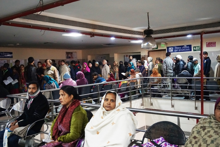 Crowd of patients at GB Pant, Delhi waiting for registration
