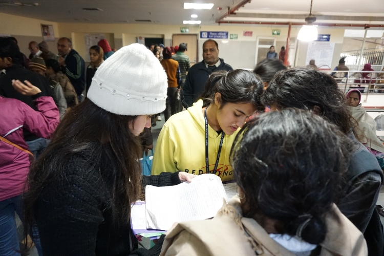 Volunteers guiding the patients at GB Pant, Delhi