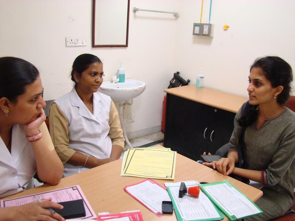 Pragya interviewing the nurses