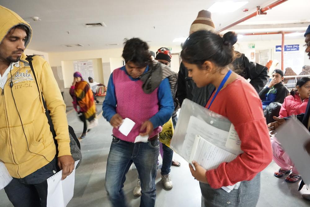 A volunteers assistingapatient at GB Pant, Delhi