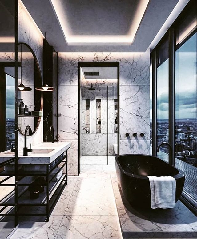 Marble and Accent Lights. Black & White. Nothing Sexier!! Who wants to take a hot bath right now? I know right!! #remaxgrand #remaxgrandlll #theblvddotinfo #myhouseidea #architecture #design #vision
