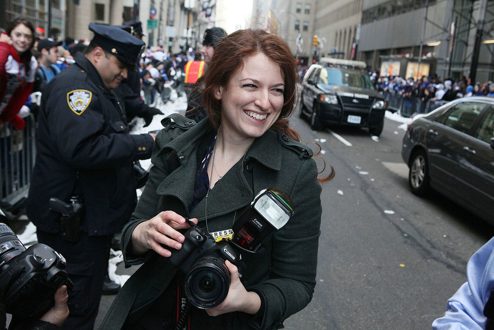 Shooting the Ticker Tape Parade for the Giants' victory in Super Bowl 2012...