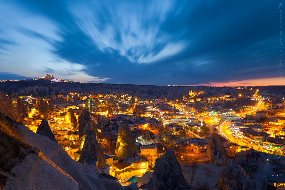 Goreme Valley |Cappadocia, Turkey March 2014 The dramatic skyline of sunset over the Goreme Valley, looking down from above the nearby cliffs. Purchase printshere