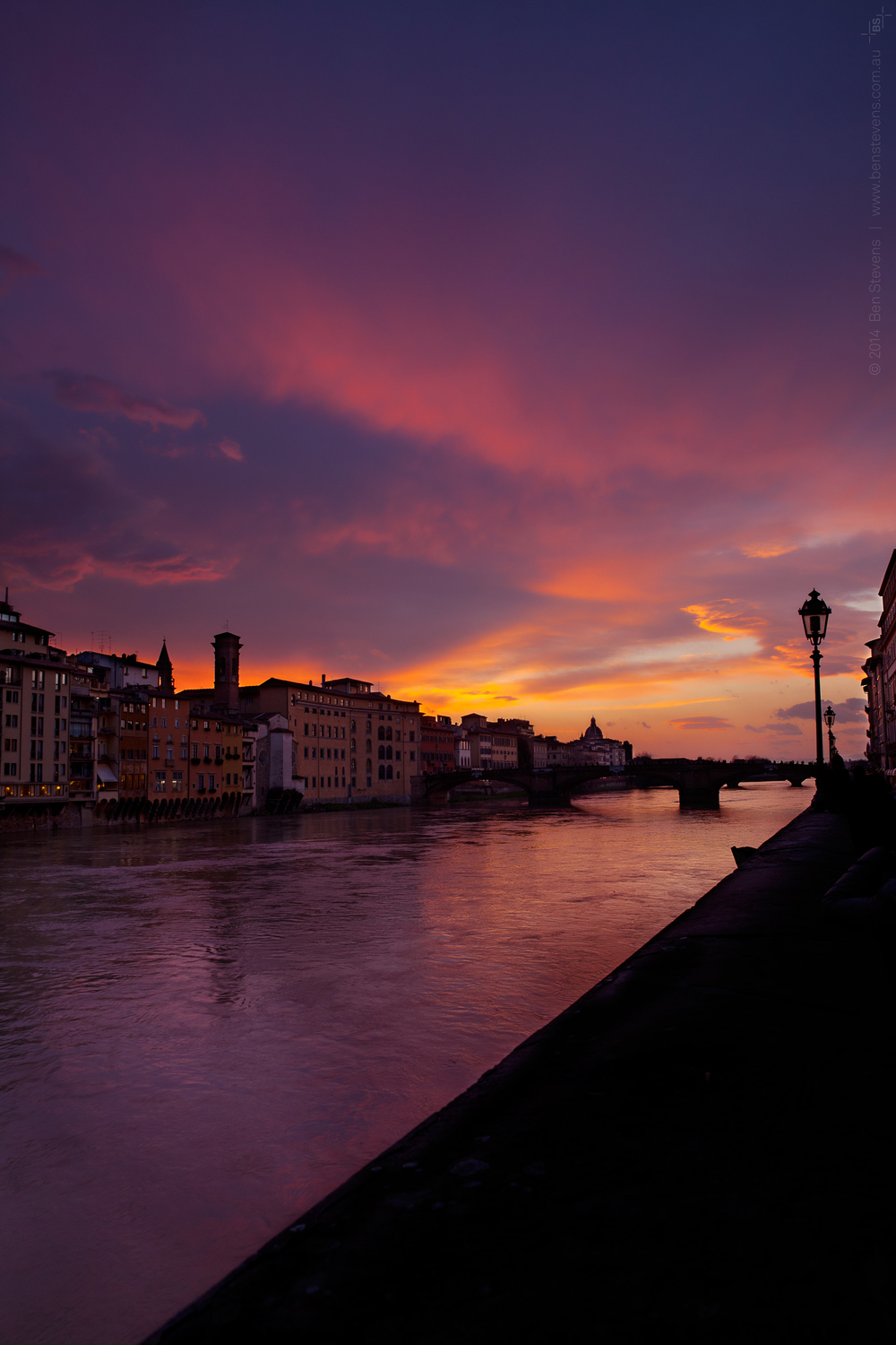 Firenze |Florence, Italy March 2014 Sunset at Ponte Vehicco over the Arno River. Purchase printshere