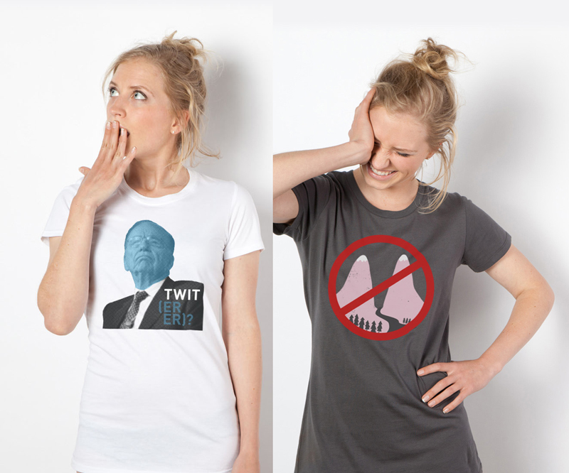 Made in the now Made in response to a breaking news story, I had to design both of these tees with only a few hours to spare before they were online and up for sale. Check them out here and here