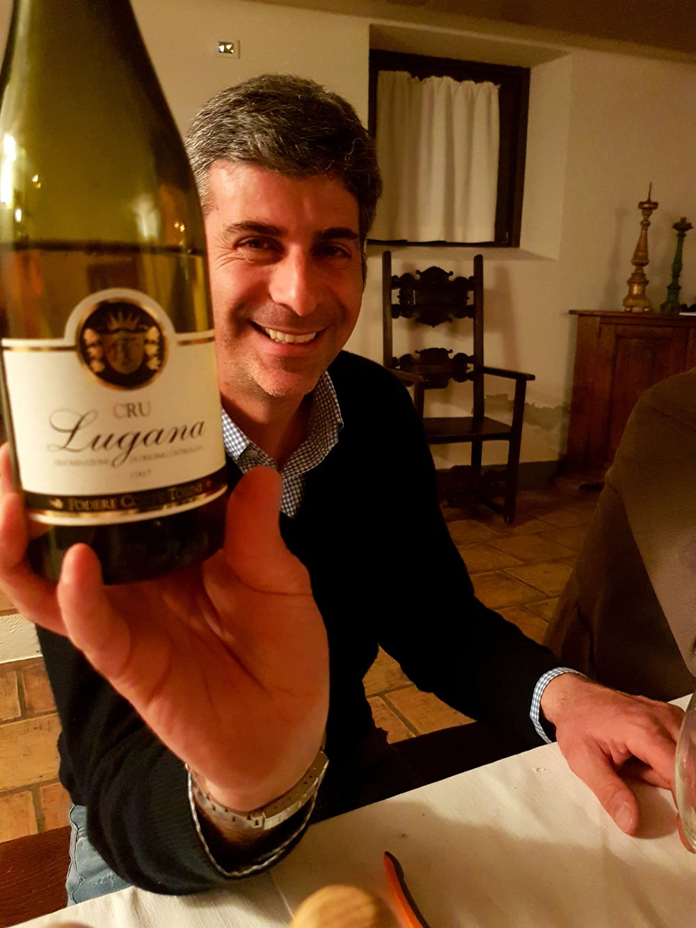 unzio with a 1997 Cru Lugana in his kitchen when we visited in February 2017